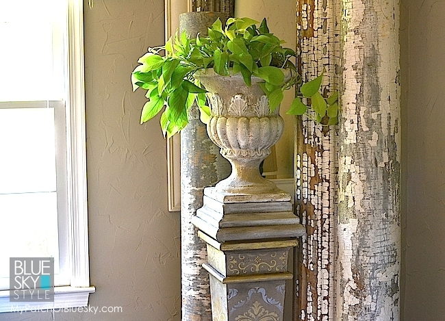 Fusion Stencils, Metallics And Texture Make A Simple Plant Stand Gorgeous