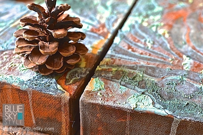 Wood Icing® canvas art using heavy texture, rust, patina and a stencil