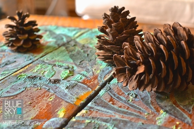 Wood Icing® canvas art project using heavy texture, rust, patina and a stencil