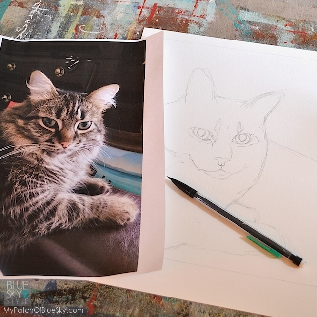 Use Wood Icing® Furniture Glazing Colors and stencil to draw a kitty caricature.