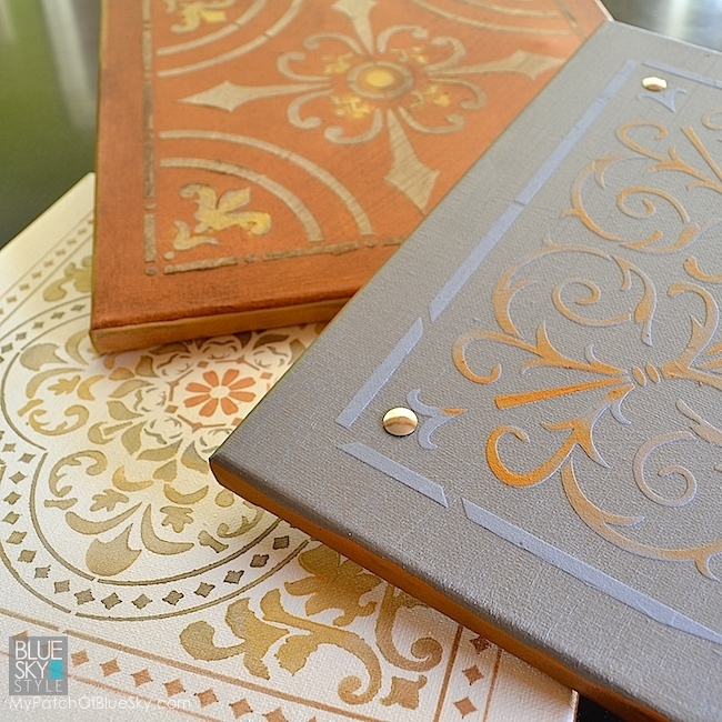 Use Fusion Matthew Mead Metallic Paints and tile stencils to create the look of old ceiling tins | Tutorial