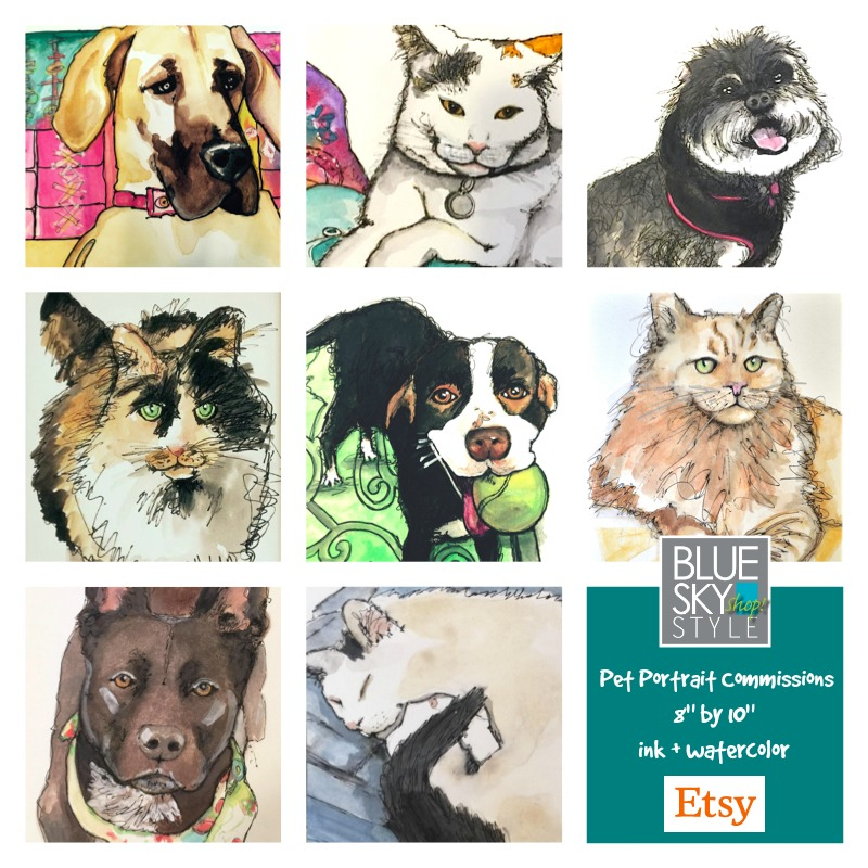 Commission your pet's portrait on Etsy.
