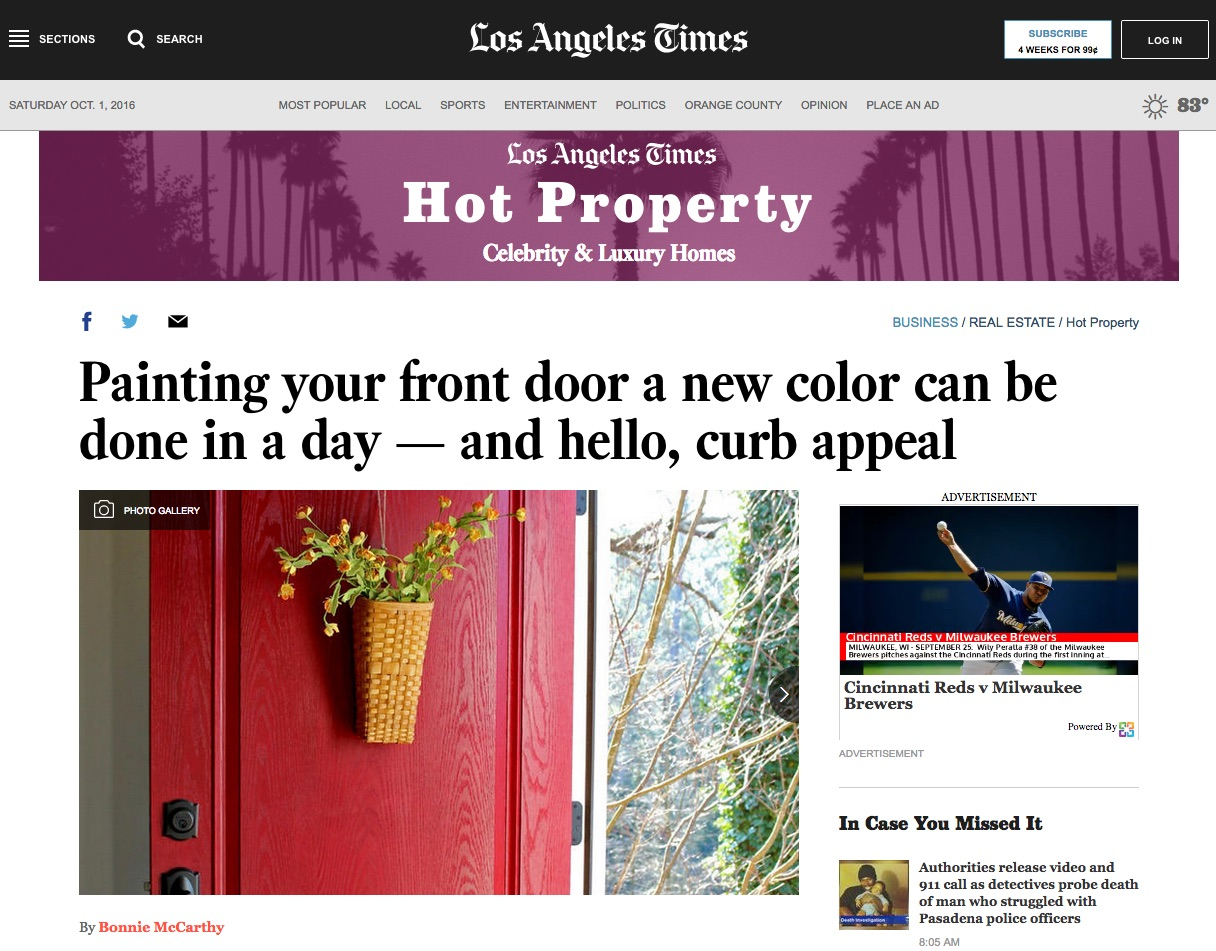 My front door, painted with Modern Masters Front Door Paint, was featured in the LA Times recently.