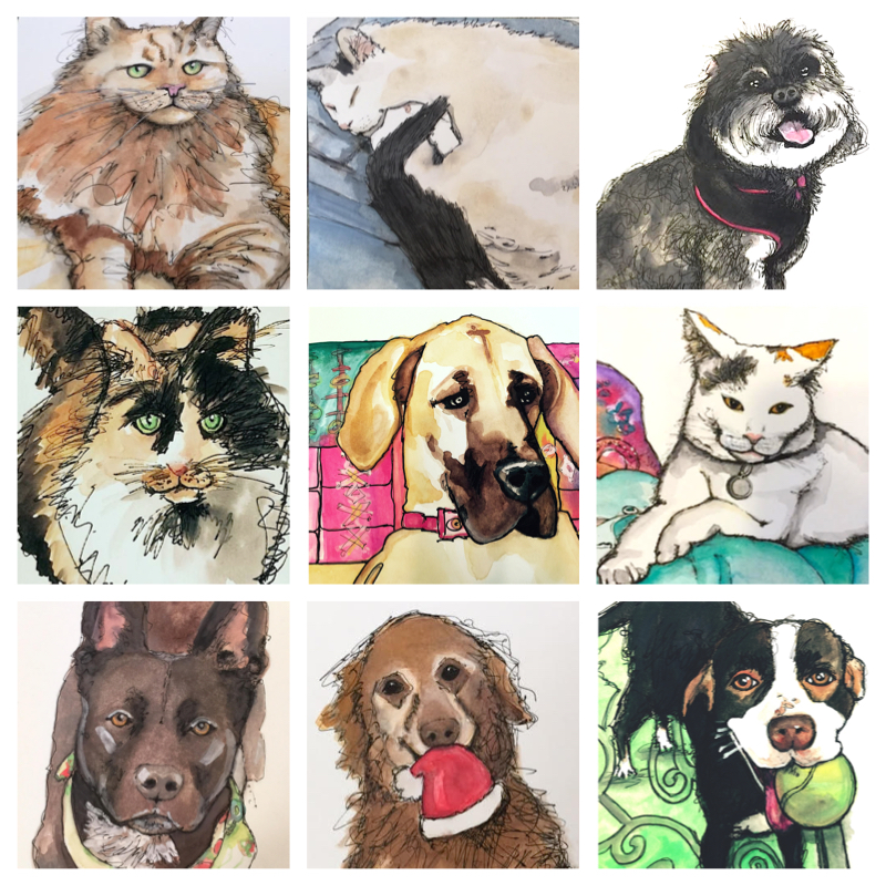Order your hand-drawn ink and watercolor pet portrait on Etsy.