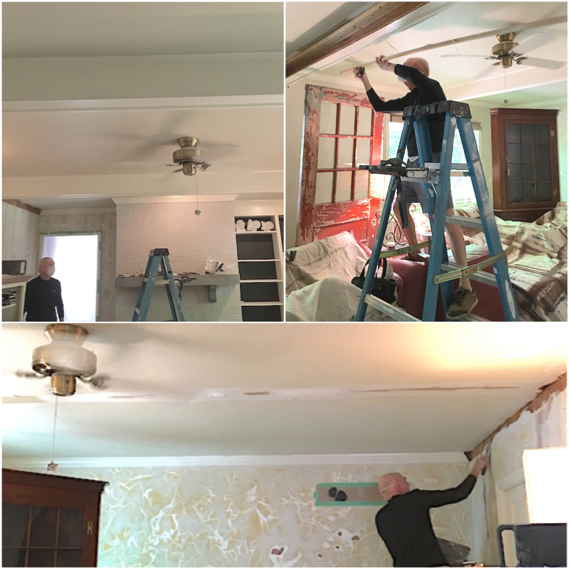 How to remove dated ceiling beams and repair the walls, ceiling, and trim.
