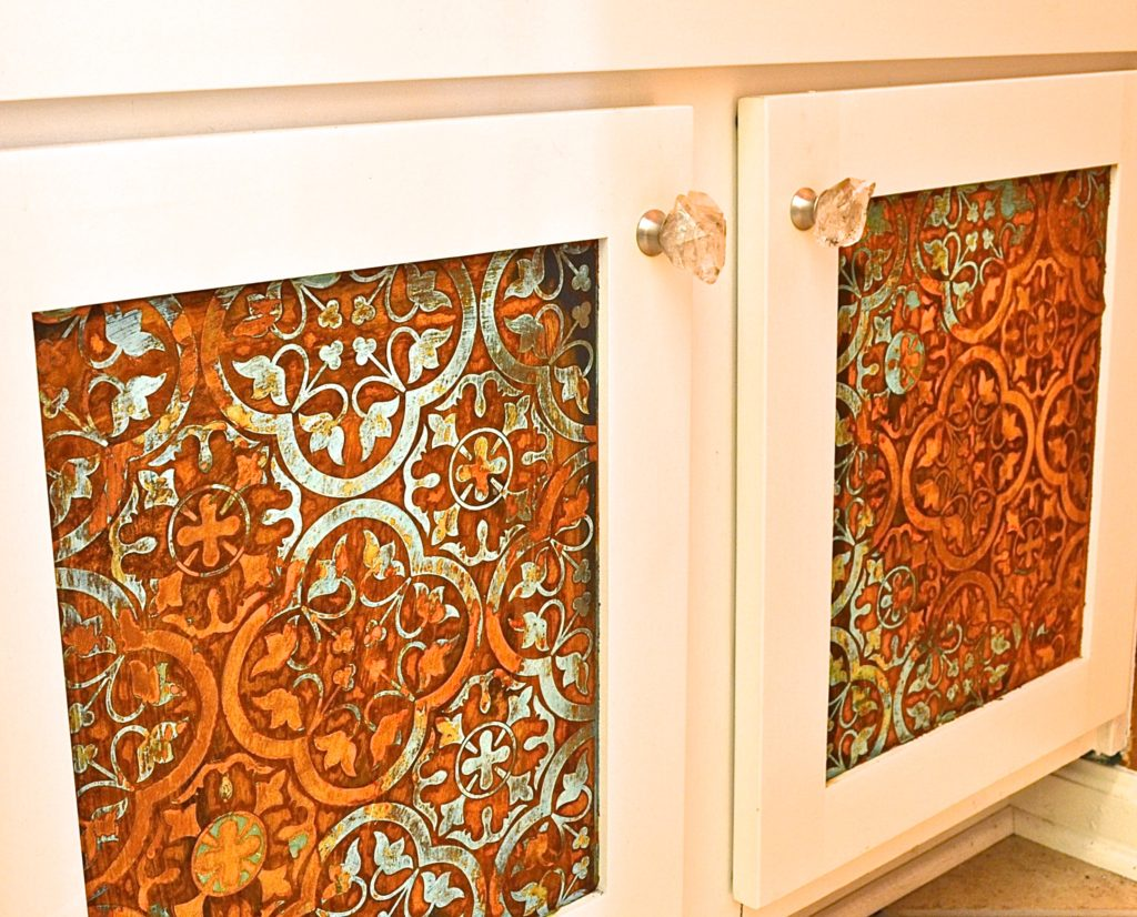 My Patch Of Blue Sky   How To Use Modern Masters Metal Effects Rust And Patina And A Royal Design Studio Custom Modello On Cabinet Doors